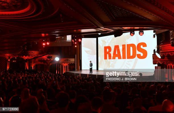Creative director Julian Gerighty introduces 'Raids' to the audience at the Orpheum Theatre in Los Angeles California on June 11 ahead of the 24th...