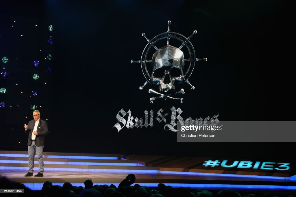 Creative Director Justin Farren introduces 'Skull & Bones' during the Ubisoft E3 conference at the Orpheum Theater on June 12, 2017 in Los Angeles, California. The E3 Game Conference begins on Tuesday June 13.