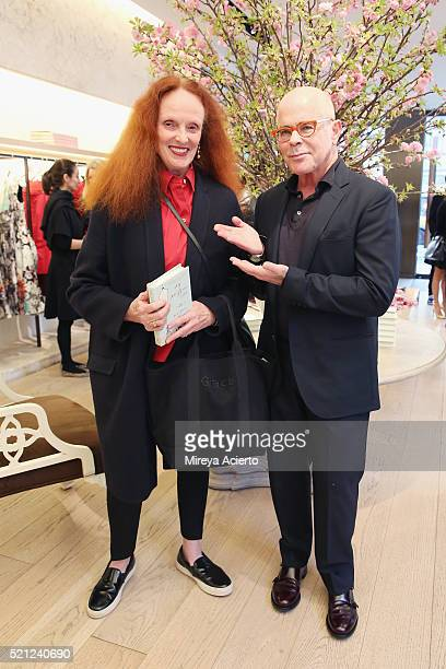 Creative director of American Vogue Grace Coddington and author William Norwich attend the book signing of his new novel 'My Mrs Brown' at Oscar de...