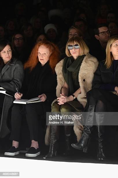 Creative Director of American Vogue Grace Coddington Editorinchief of American Vogue Anna Wintour and Vogue Fashion Editor Victoria Smith attend the...