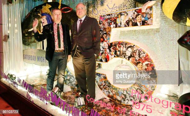 Creative Director of Barneys New York Simon Doonan and creator of SNL Lorne Michaels in the window at the Barneys New York 2009 Holiday Window...