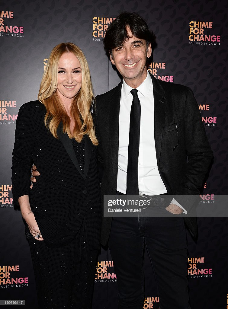 Creative Director of Gucci Frida Giannini and CEO of Gucci Patrizio di Marco arrive at the Royal Box photo wall ahead of the 'Chime For Change: The Sound Of Change Live' Concert at Twickenham Stadium on June 1, 2013 in London, England. Chime For Change is a global campaign for girls' and women's empowerment founded by Gucci with a founding committee comprised of Gucci Creative Director Frida Giannini, Salma Hayek Pinault and Beyonce Knowles-Carter.