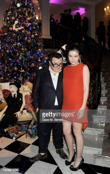 Creative Director of Lanvin Alber Elbaz and Amba Jackson attend Claridge's unveiling of the Alber Elbaz For Lanvin Christmas Tree at Claridge's Hotel...