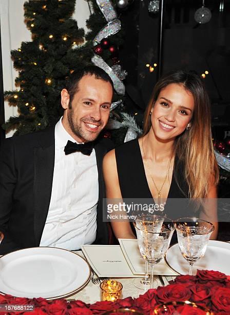 Creative Director of Salvatore Ferragamo Massimiliano Giornetti and Jessica Alba attend a dinner at Burlington Arcade after the flagship store launch...