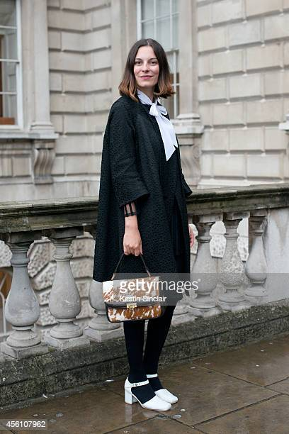 Creative Director of Secret Door Andreea Bogdan wears all vintage on day 1 of London Fashion Week Spring/Summer 2013, at Somerset House on September...