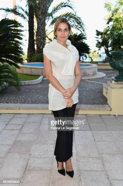Creative director of the Italian jewellery brand Repossi Gaia Repossi poses as she attends the launch of the 'White noise' collection at Hotel...