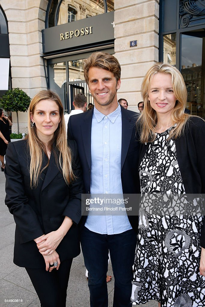 Creative director of the Italian jewellery brand Repossi, Gaia Repossi, Jeremy Everett and Louis Vuitton's executive vice president, Delphine Arnault attend the Repossi Vendome Flagship Store Inauguration at Place Vendome on July 4, 2016 in Paris, France.