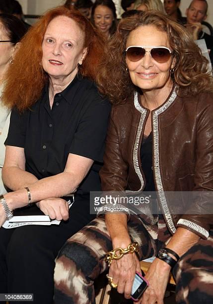 Creative director of Vogue magazine Grace Coddington and Designer Diane von Furstenberg attend the Rodarte Spring 2011 fashion show during...