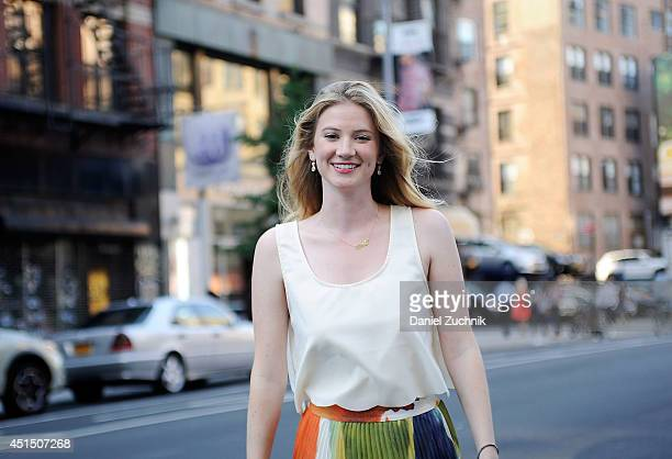 Creative Director Olivia Whiteis seen around Soho wearing an Alice and Olivia skirt on June 30 2014 in New York City