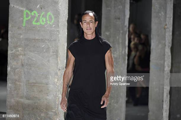 Creative Director Rick Owens acknowledges the audience during the Rick Owens show as part of Paris Fashion Week Womenswear Spring/Summer 2017 on...