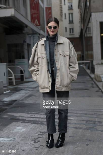 Creative director Romilly Mason wears a Y Project jacket JW Anderson boots and Toga blazer day 4 of Paris Womens Fashion Week Spring/Summer 2018 on...