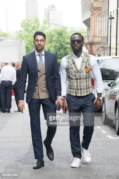 Creative director Saad Wadia wears Zara shoes and glasses and a Saran Kohli suit waistcoat shirt and tie with Founder of cutsforhimcom Edmund Kamara...