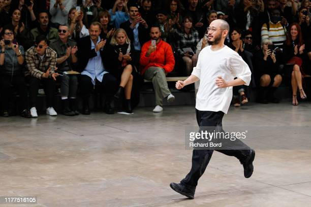 Creative Director Satoshi Kondo acknowledges the audience during the Issey Miyake Womenswear Spring/Summer 2020 show at Le 104 as part of Paris...
