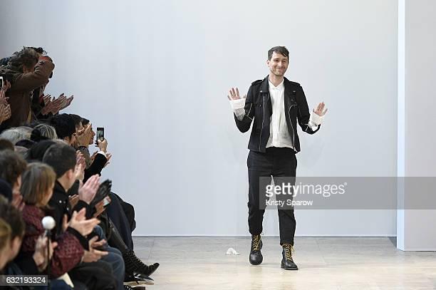 Creative Director Sebastien Meunier acknowledges the audience during the Ann Demeulemeester Menswear Fall/Winter 20172018 show as part of Paris...