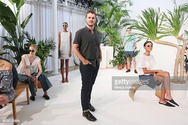 Creative director Stirling Barrett poses at the Krewe New Orleans Eyewear presentation during MADE Fashion Week September 2016 at Milk Studios on...