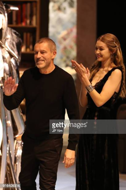 Creative Director Tomas Maier and Gigi Hadid acknowledge the guests at the end of the Bottega Veneta Fall/Winter 2018 Collection at the American...