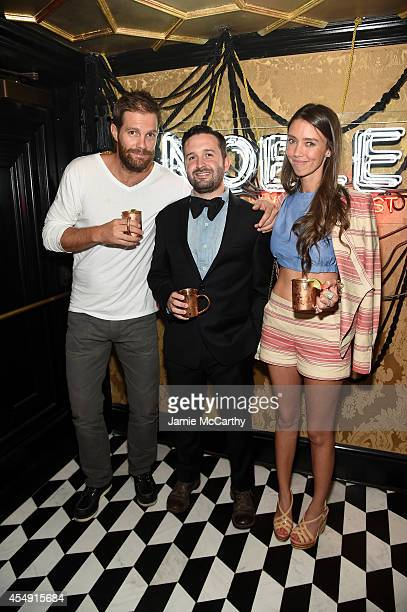 Creative Director Trace Ayala and Geoff Stults attend NOBLE by William Rast Spring 2015 Presentation at Diamond Horseshoe Home of Queen of the Night...