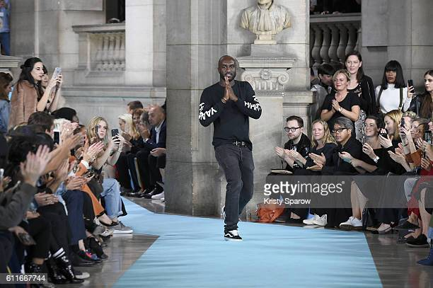 Creative Director Virgil Abloh acknowledges the audience during the OffWhite show as part of Paris Fashion Week Womenswear Spring/Summer 2017 on...