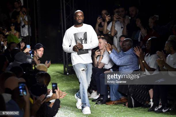Creative Director Virgil Abloh acknowledges the audience during the Off-White Menswear Spring/Summer 2019 show as part of Paris Fashion Week on June...