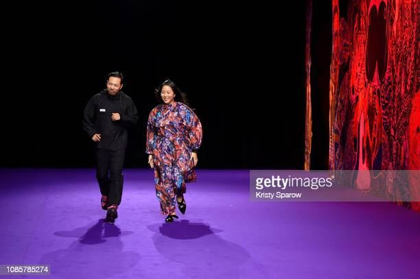 Creative Directors Humberto Leon and Carol Lim acknowledge the audience during the Kenzo Menswear Fall/Winter 2019-2020 show as part of Paris Fashion...