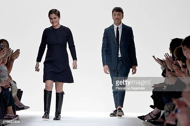 Creative Directors Maria Grazia Chiuri and Pier Paolo Piccioli appear at the end of the runway after the Valentino show as part of the Paris Fashion...