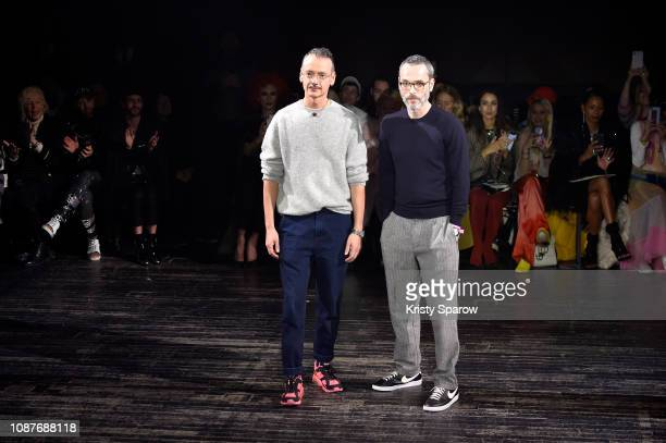 Creative Directors Viktor Horsting and Rolf Snoeren acknowledge the audience during the Viktor & Rolf Spring Summer 2019 show as part of Paris...