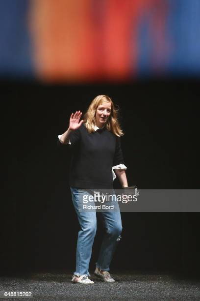 Creative Driector Sarah Burton walks the runway during the Alexander McQueen show during Paris Fashion Week Womenswear Fall/Winter 2017/2018 on March...