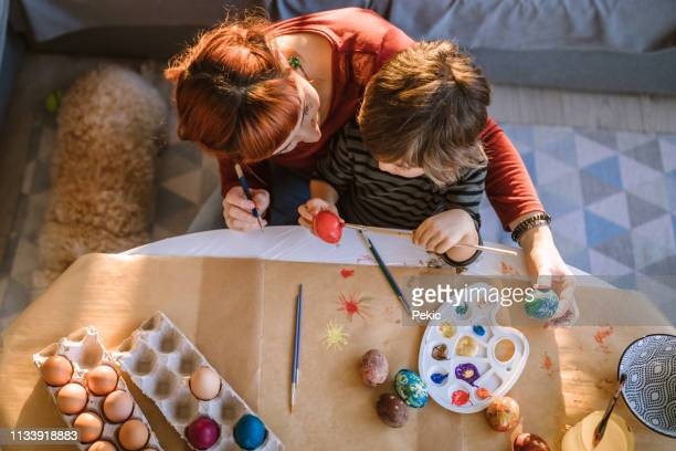 creative easter egg coloring day - happy resurrection day stock pictures, royalty-free photos & images