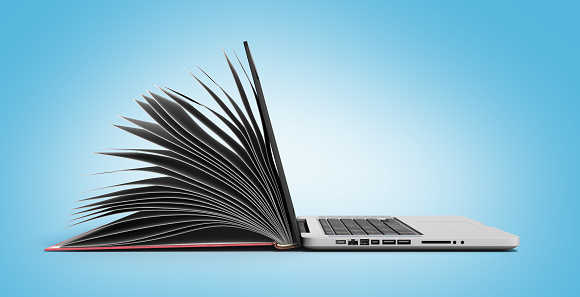 creative E-learning Concept Book and Laptop 3d render 613540820