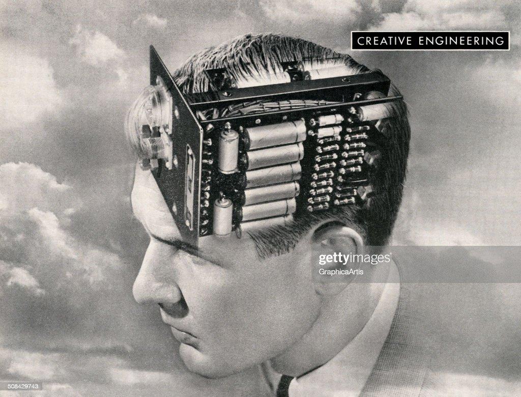 Man With Circuit Board Brain : News Photo