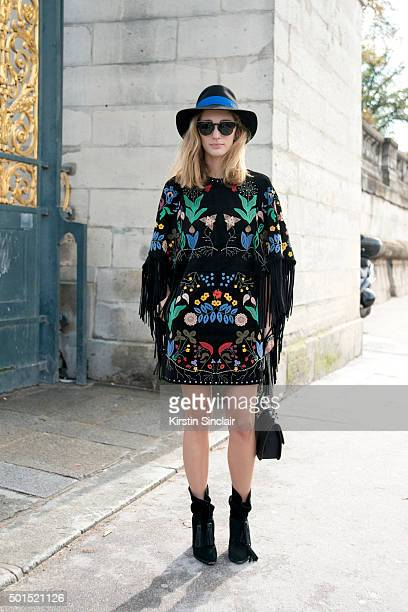 Creative Fashion director Sofia Sanchez Barrenechea wears all Valentino with a Maison Michel hat on day 8 during Paris Fashion Week Spring/Summer...