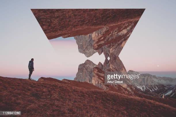 creative geometric landscape manipulation with reflection in the italian alps. - image stock pictures, royalty-free photos & images