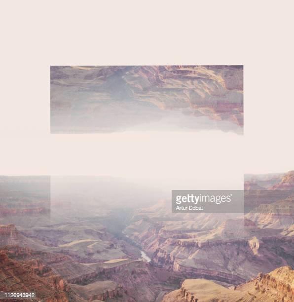 creative geometric landscape manipulation with reflection in the grand canyon. - terugtrekken stockfoto's en -beelden