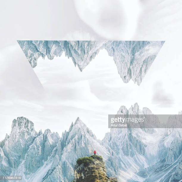 creative geometric landscape manipulation with reflection in the italian alps. - dreamlike stock pictures, royalty-free photos & images