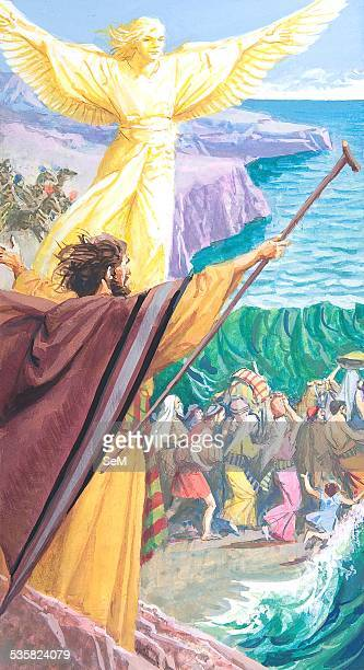 Creative illustration Ancient Egyptian civilization Moses free his people from Egypt through the Red Sea Ancient Egypt was a civilization of ancient...