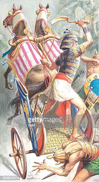 Creative illustration Ancient Egyptian civilization The war of the Egyptians war chariot into battle Ancient Egypt was a civilization of ancient...
