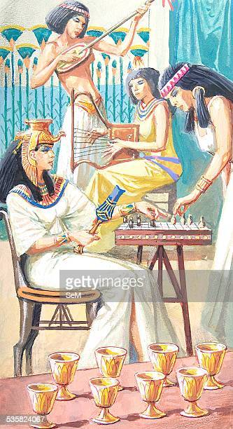 Creative illustration Ancient Egyptian civilization The wife of Farone plays chess with a slave Ancient Egypt was a civilization of ancient...