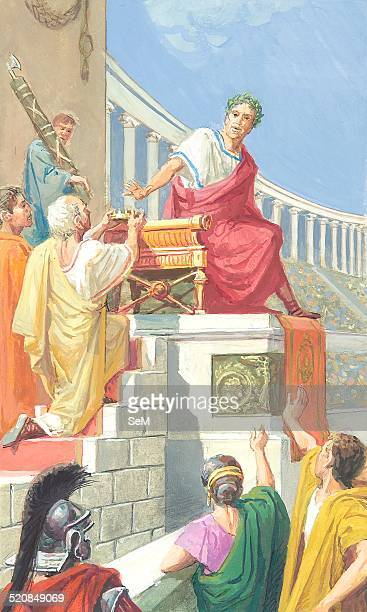 Creative illustration History of Rome Ancient Rome Julius Caesar refuses the Diadem when it was offered during the Lupercalia