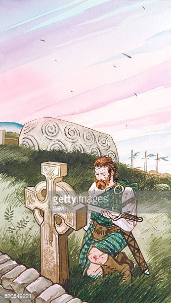 Creative illustration Magic A scottish warrior offering or blessing his sword at a Celtic cross decorates with runes in the highlands This cross is a...