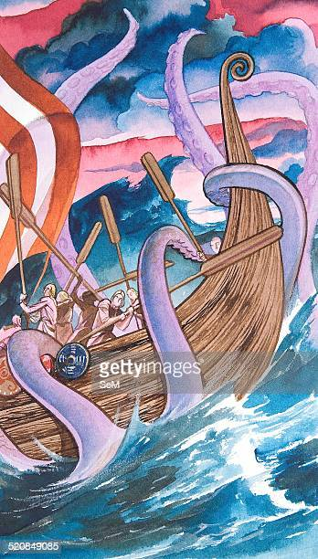 Creative illustration Magic Mithology Kraken legendary sea monsters of giant proportions said to dwell off the coasts of Norway and Greenland The...