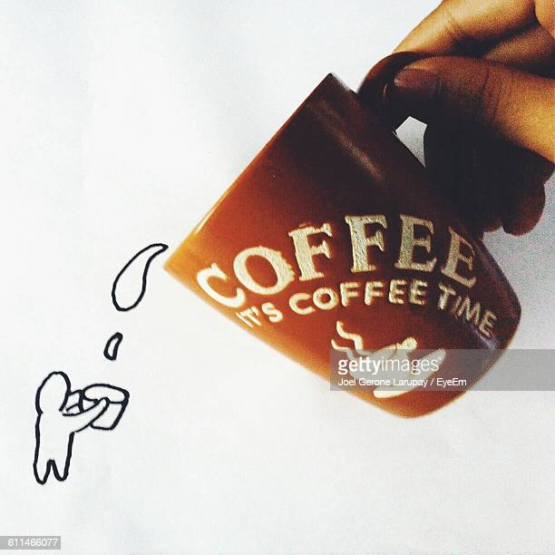 Creative Image Of Person Serving Coffee On White Paper