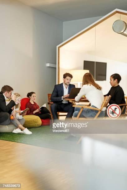 Creative informal meeting in office