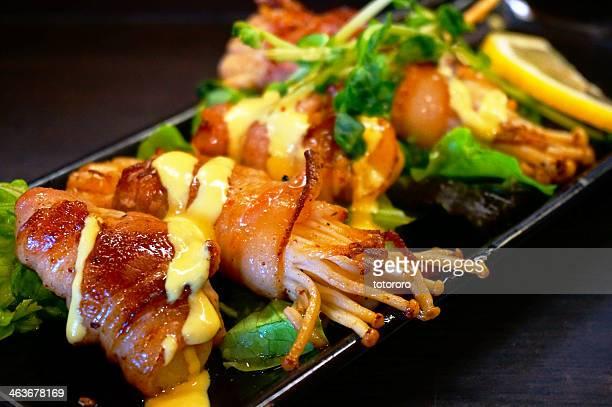 creative japanese food - enoki bacon - enoki mushroom stock pictures, royalty-free photos & images