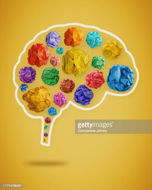 creative mind. colorful crumpled paper balls in brain shape - scientificsubjects stock pictures, royalty-free photos & images