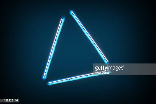 creative neon lights with triangle shape. - fluorescent light stock pictures, royalty-free photos & images
