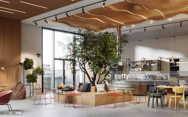 creative office interior with cafeteria in 3d - coworking stock pictures, royalty-free photos & images