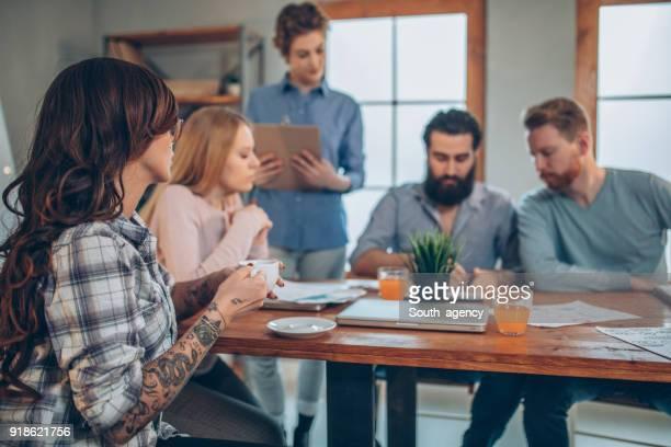 Creative people working in modern office