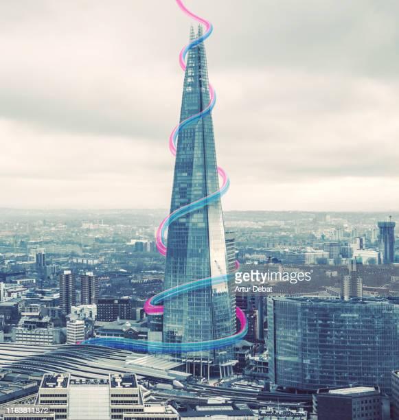creative picture of colorful shape tracing the london skyline. - punto di fuga foto e immagini stock