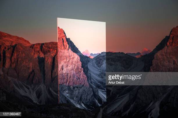 creative picture of stunning mirror reflecting beautiful alps mountains during sunset. - china: through the looking glass stock pictures, royalty-free photos & images