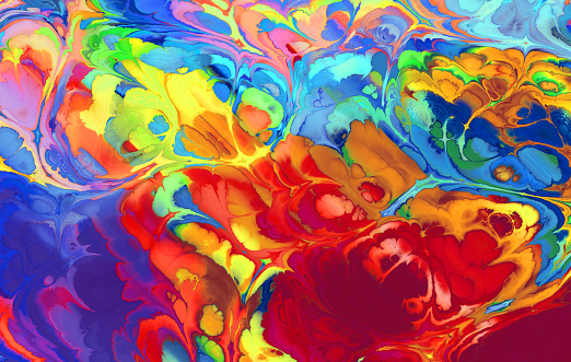 Creative rainbow ebru background with abstract painted waves - gettyimageskorea